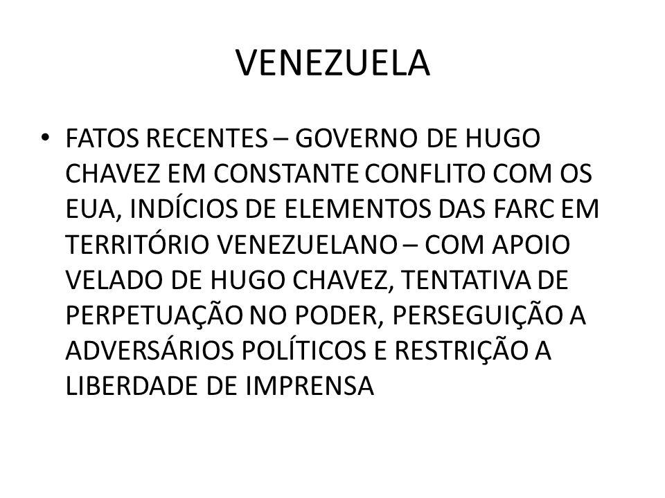 VENEZUELA FATOS RECENTES – GOVERNO DE HUGO CHAVEZ EM CONSTANTE CONFLITO COM OS EUA, INDÍCIOS DE ELEMENTOS DAS FARC EM TERRITÓRIO VENEZUELANO – COM APO