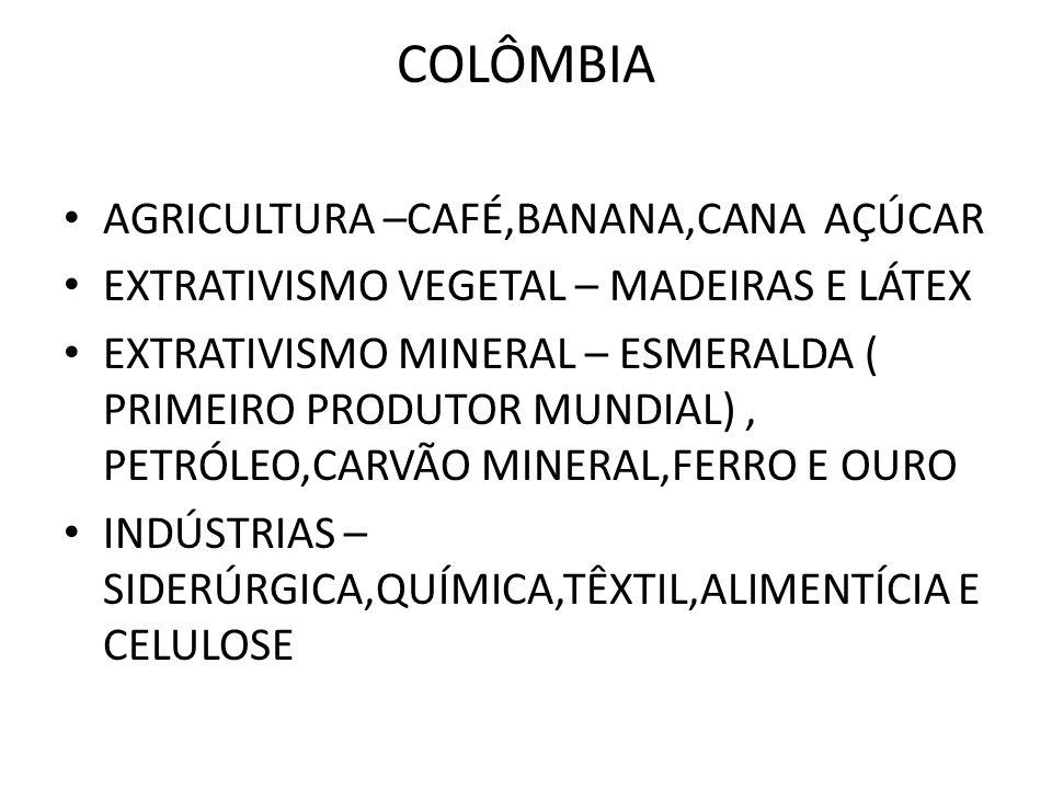 COLÔMBIA AGRICULTURA –CAFÉ,BANANA,CANA AÇÚCAR EXTRATIVISMO VEGETAL – MADEIRAS E LÁTEX EXTRATIVISMO MINERAL – ESMERALDA ( PRIMEIRO PRODUTOR MUNDIAL), P