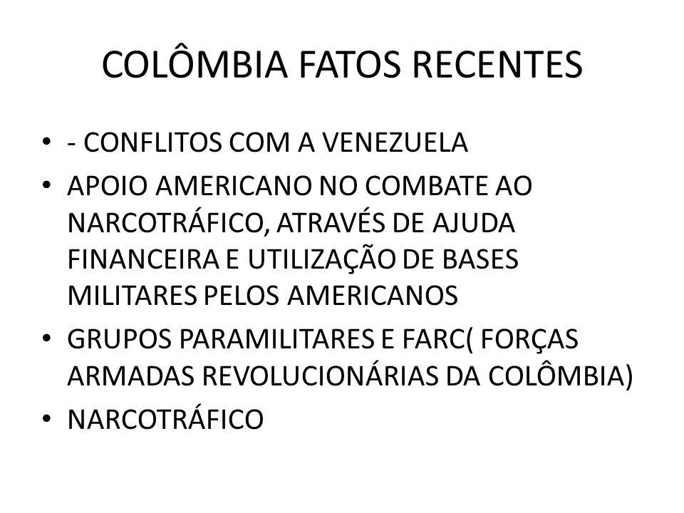 COLÔMBIA FATOS RECENTES - CONFLITOS COM A VENEZUELA APOIO AMERICANO NO COMBATE AO NARCOTRÁFICO, ATRAVÉS DE AJUDA FINANCEIRA E UTILIZAÇÃO DE BASES MILI