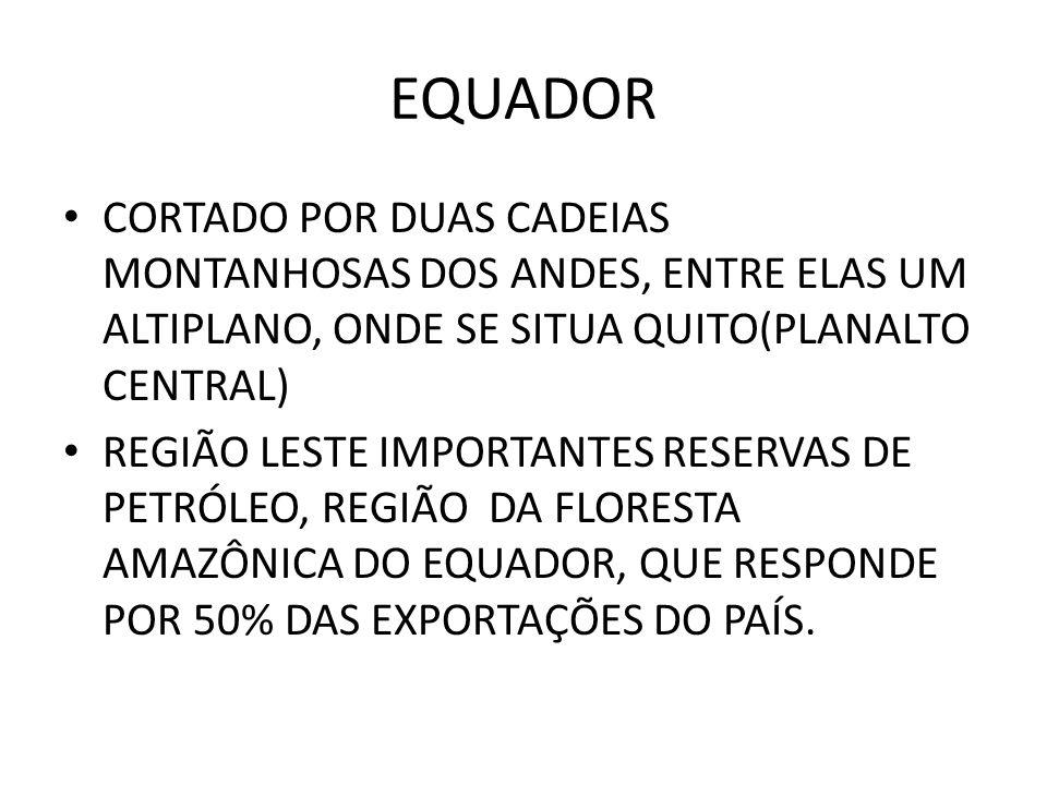 EQUADOR CORTADO POR DUAS CADEIAS MONTANHOSAS DOS ANDES, ENTRE ELAS UM ALTIPLANO, ONDE SE SITUA QUITO(PLANALTO CENTRAL) REGIÃO LESTE IMPORTANTES RESERV