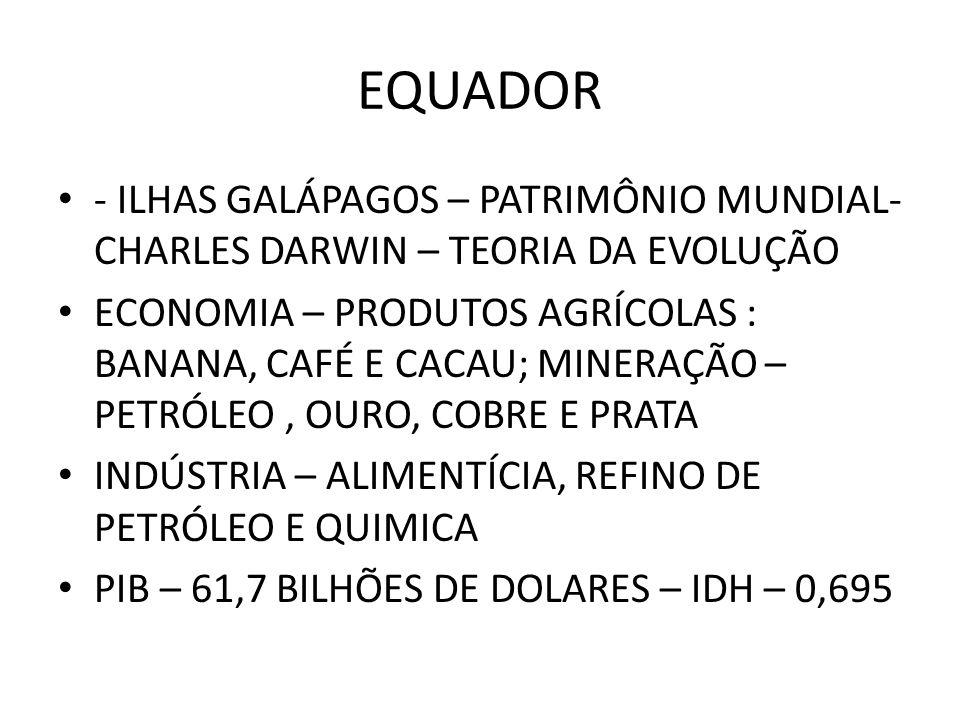 - ILHAS GALÁPAGOS – PATRIMÔNIO MUNDIAL- CHARLES DARWIN – TEORIA DA EVOLUÇÃO ECONOMIA – PRODUTOS AGRÍCOLAS : BANANA, CAFÉ E CACAU; MINERAÇÃO – PETRÓLEO