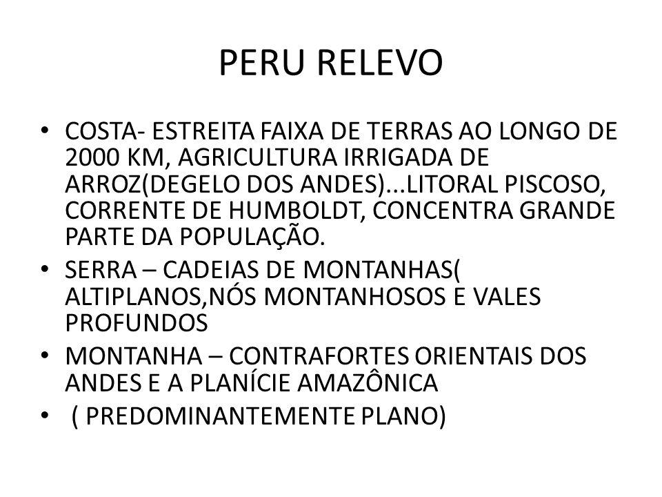 PERU RELEVO COSTA- ESTREITA FAIXA DE TERRAS AO LONGO DE 2000 KM, AGRICULTURA IRRIGADA DE ARROZ(DEGELO DOS ANDES)...LITORAL PISCOSO, CORRENTE DE HUMBOL