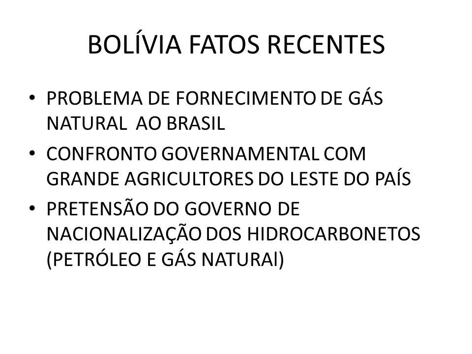BOLÍVIA FATOS RECENTES PROBLEMA DE FORNECIMENTO DE GÁS NATURAL AO BRASIL CONFRONTO GOVERNAMENTAL COM GRANDE AGRICULTORES DO LESTE DO PAÍS PRETENSÃO DO