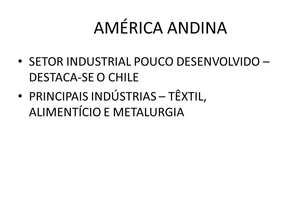 AMÉRICA ANDINA SETOR INDUSTRIAL POUCO DESENVOLVIDO – DESTACA-SE O CHILE PRINCIPAIS INDÚSTRIAS – TÊXTIL, ALIMENTÍCIO E METALURGIA