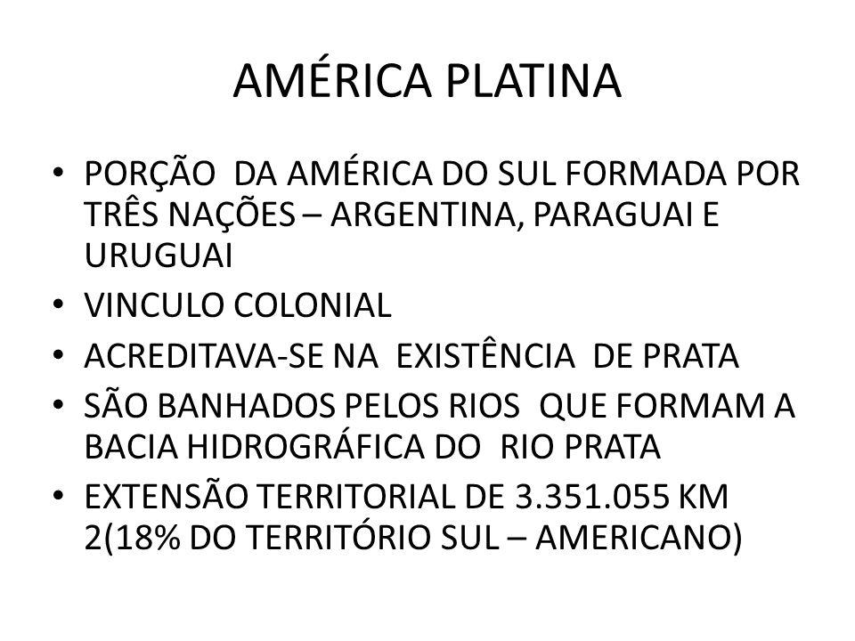 AMÉRICA PLATINA PORÇÃO DA AMÉRICA DO SUL FORMADA POR TRÊS NAÇÕES – ARGENTINA, PARAGUAI E URUGUAI VINCULO COLONIAL ACREDITAVA-SE NA EXISTÊNCIA DE PRATA