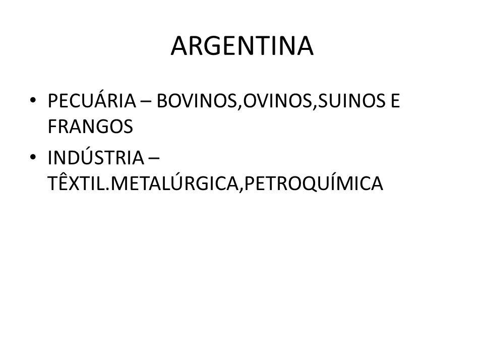 ARGENTINA PECUÁRIA – BOVINOS,OVINOS,SUINOS E FRANGOS INDÚSTRIA – TÊXTIL.METALÚRGICA,PETROQUÍMICA