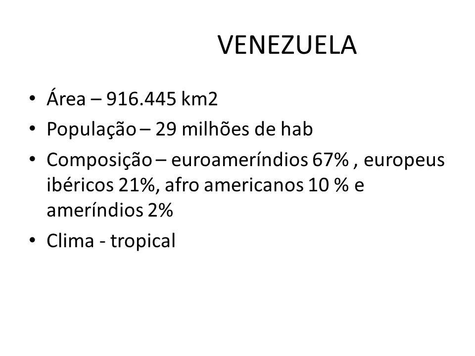 VENEZUELA Área – 916.445 km2 População – 29 milhões de hab Composição – euroameríndios 67%, europeus ibéricos 21%, afro americanos 10 % e ameríndios 2