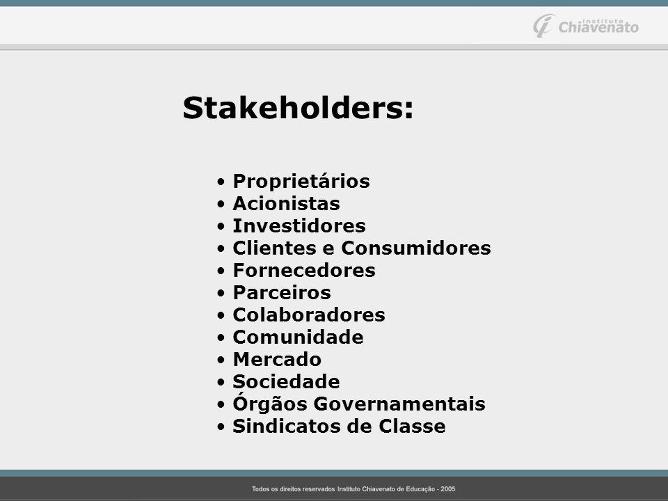 Stakeholders: Proprietários Acionistas Investidores Clientes e Consumidores Fornecedores Parceiros Colaboradores Comunidade Mercado Sociedade Órgãos G