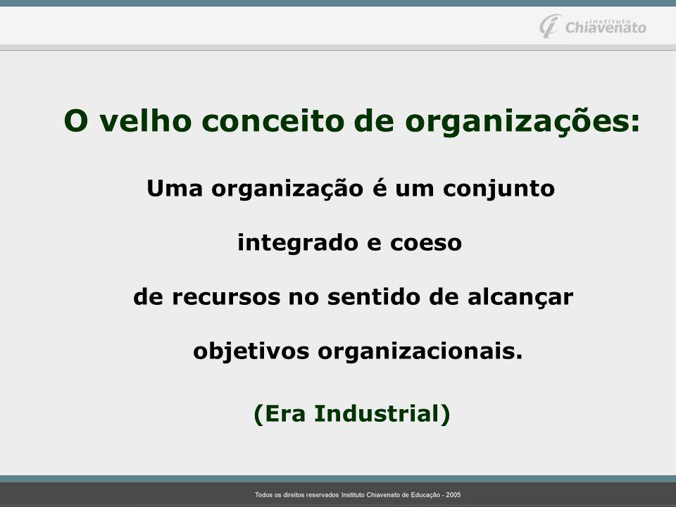 O velho conceito de organizações: Uma organização é um conjunto integrado e coeso de recursos no sentido de alcançar objetivos organizacionais. (Era I