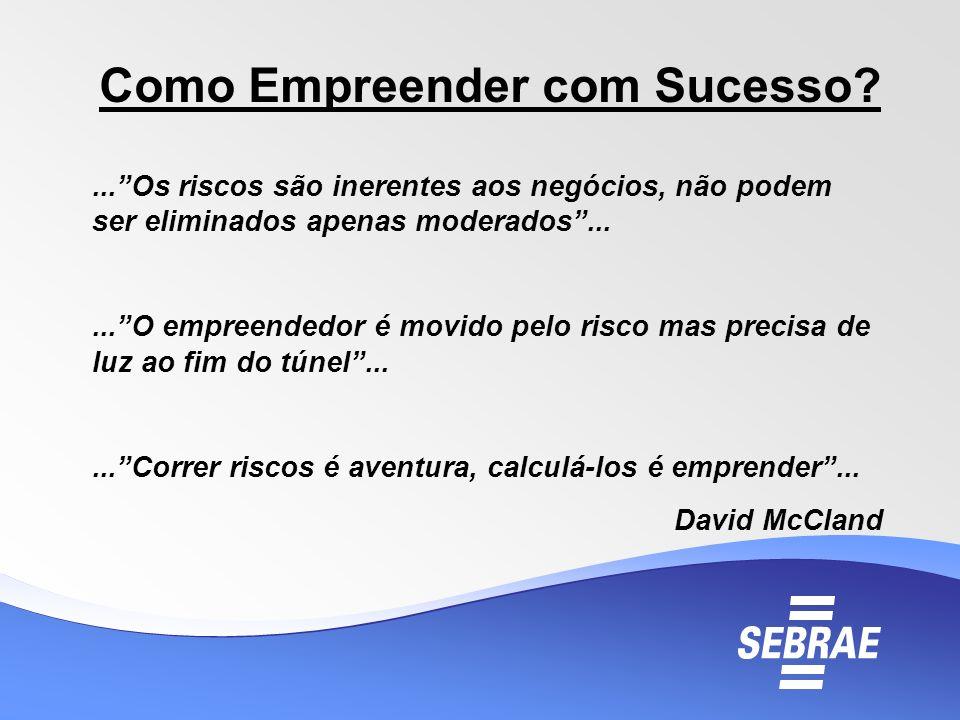 Como Empreender com Sucesso?...Os riscos são inerentes aos negócios, não podem ser eliminados apenas moderados......O empreendedor é movido pelo risco
