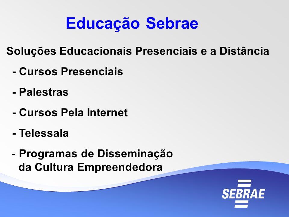 Educação Sebrae Soluções Educacionais Presenciais e a Distância - Cursos Presenciais - Palestras - Cursos Pela Internet - Telessala - Programas de Dis