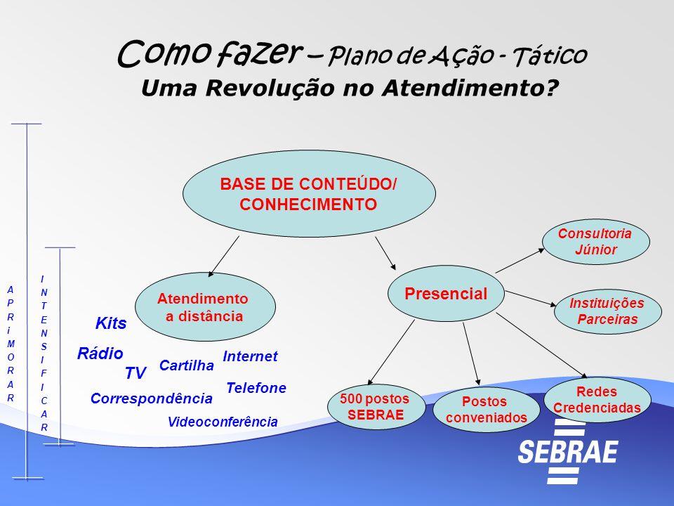 Como fazer – Plano de Ação - Tático Uma Revolução no Atendimento? BASE DE CONTEÚDO / CONHECIMENTO Atendimento a distância Presencial 500 postos SEBRAE