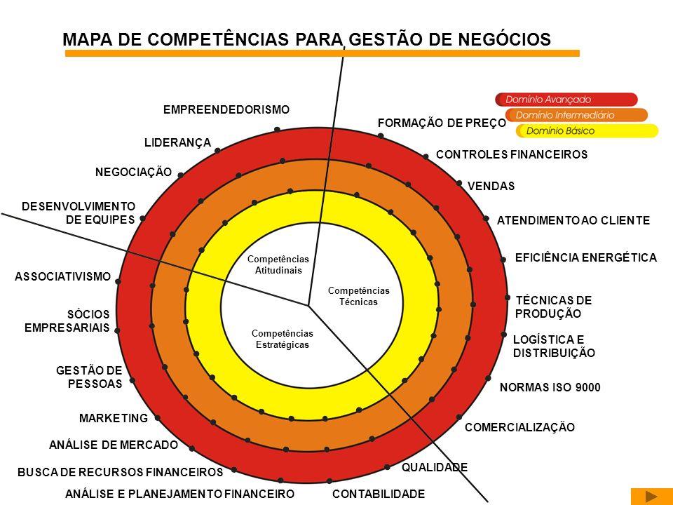 Competências Atitudinais Competências Estratégicas Competências Técnicas COMERCIALIZAÇÃO NORMAS ISO 9000 LOGÍSTICA E DISTRIBUIÇÃO TÉCNICAS DE PRODUÇÃO