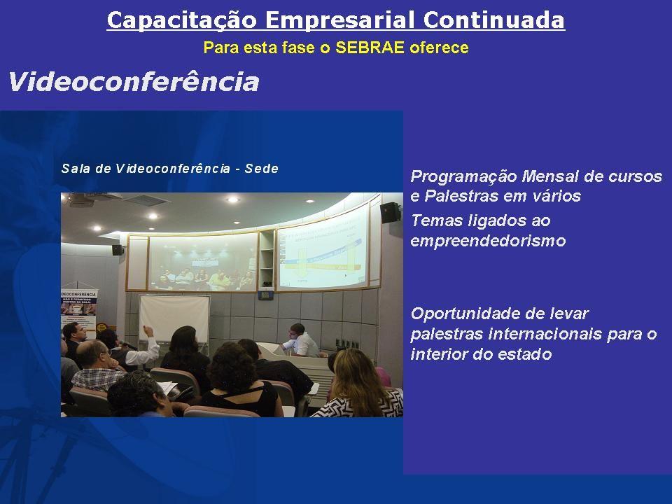 Videoconferência O SEBRAE em Pernambuco, desde 2003 interligou a unidade da capital (Recife) a todas as unidades no interior do Estado (Caruaru, Garanhuns, Serra Talhada, Petrolina e Araripina e o arquipélago de Fernando de Noronha) ofertando cursos e palestras por meio de Videoconferência para todo o Estado.