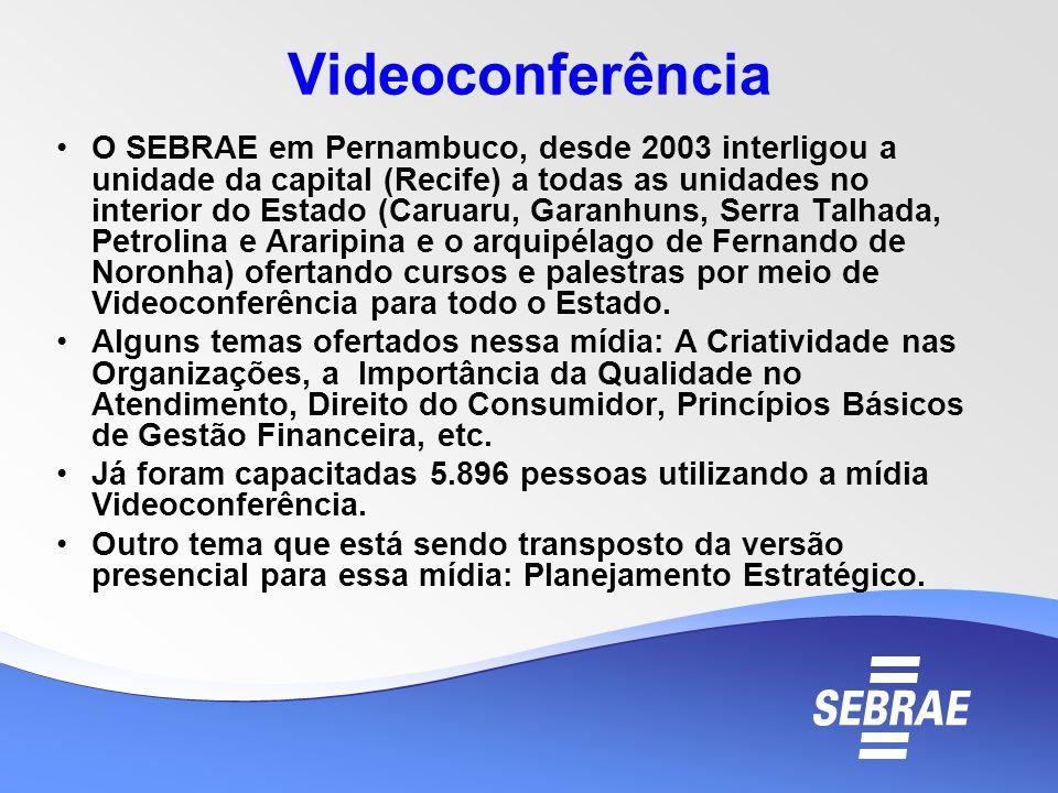 Videoconferência O SEBRAE em Pernambuco, desde 2003 interligou a unidade da capital (Recife) a todas as unidades no interior do Estado (Caruaru, Garan