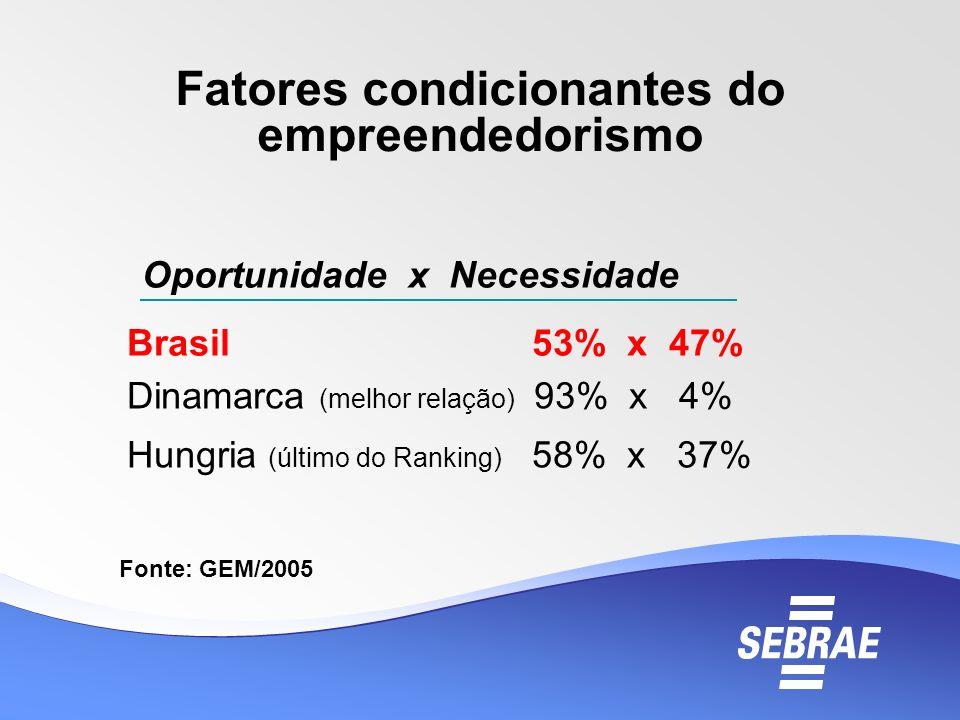 Fatores condicionantes do empreendedorismo Oportunidade x Necessidade Brasil 53% x 47% Dinamarca (melhor relação) 93% x 4% Hungria (último do Ranking)