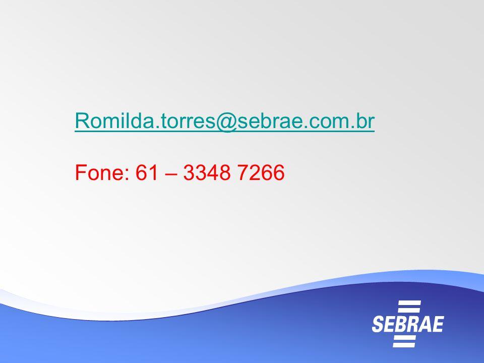 Romilda.torres@sebrae.com.br Fone: 61 – 3348 7266