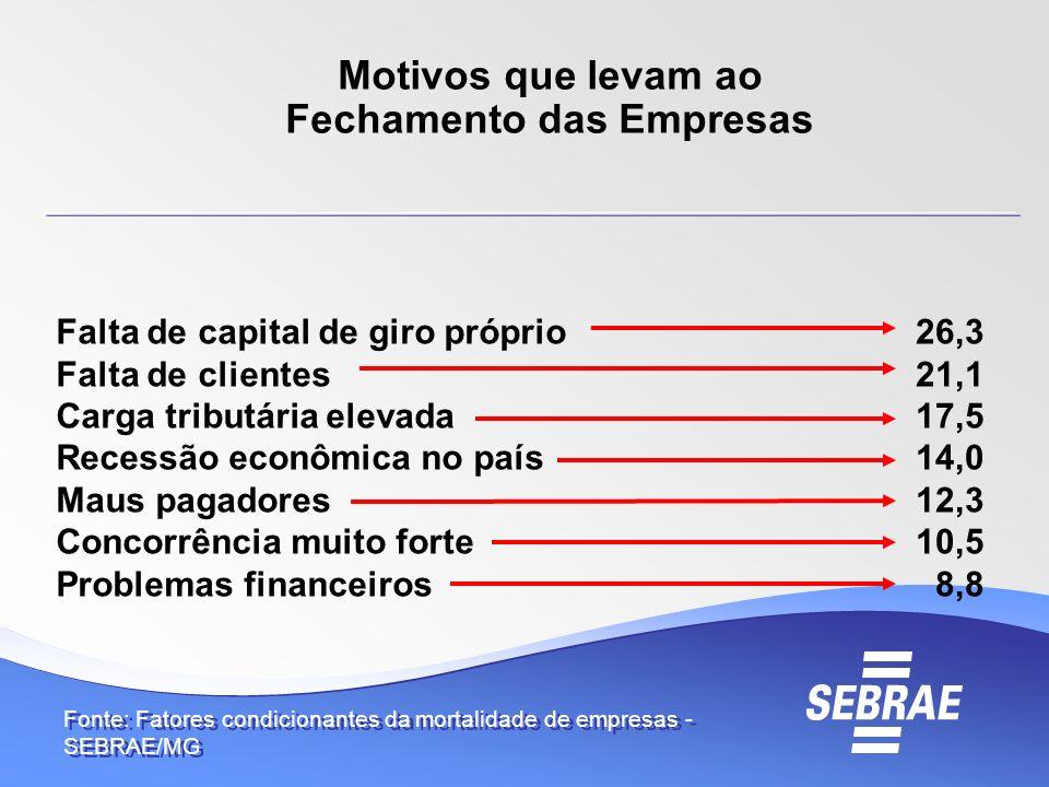 26,3 21,1 17,5 14,0 12,3 10,5 8,8 Fonte: Fatores condicionantes da mortalidade de empresas - SEBRAE/MG Motivos que levam ao Fechamento das Empresas Fa
