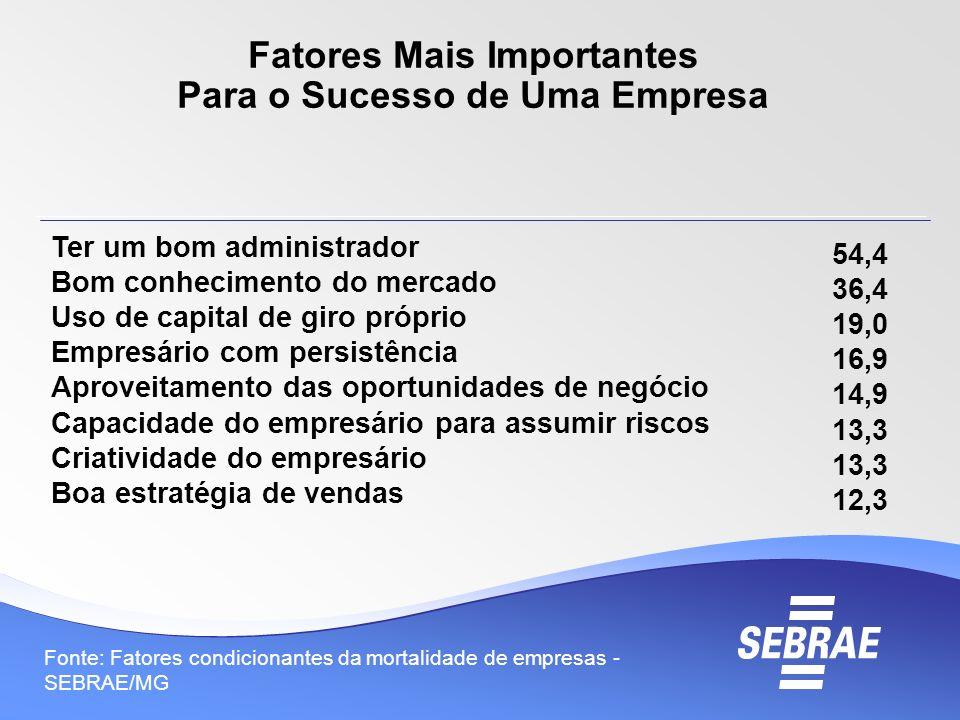Fonte: Fatores condicionantes da mortalidade de empresas - SEBRAE/MG Fatores Mais Importantes Para o Sucesso de Uma Empresa 54,4 36,4 19,0 16,9 14,9 1