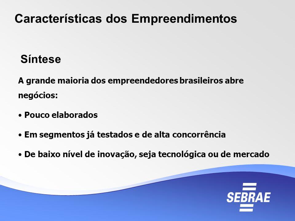 Características dos Empreendimentos A grande maioria dos empreendedores brasileiros abre negócios: Pouco elaborados Em segmentos já testados e de alta