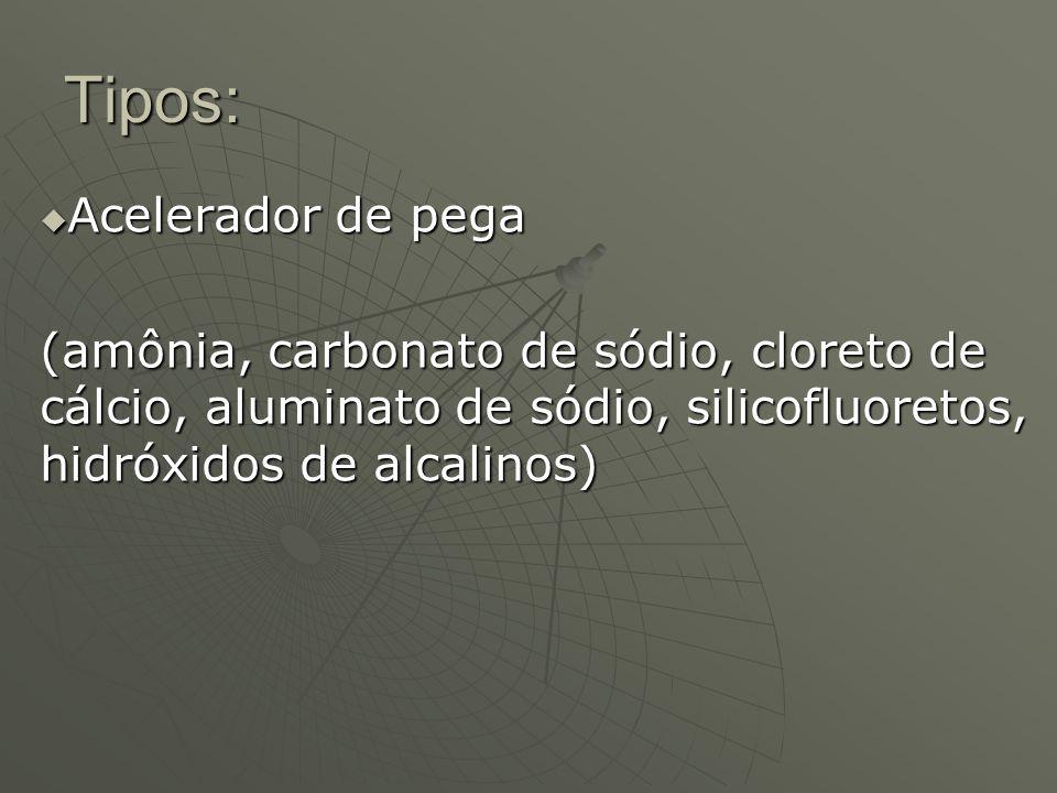 Tipos: Retardador de pega Retardador de pega (Linhossulfonatos e os hidratos de carbono: glucose, sacarose, celulose, amido; glicerina, óxidos de zinco e chumbo)