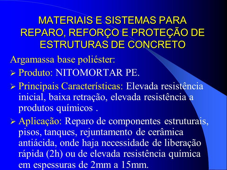 MATERIAIS E SISTEMAS PARA REPARO, REFORÇO E PROTEÇÃO DE ESTRUTURAS DE CONCRETO Argamassa base poliéster: Produto: NITOMORTAR PE. Principais Caracterís