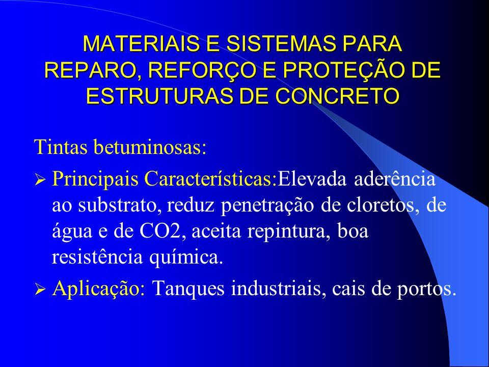 MATERIAIS E SISTEMAS PARA REPARO, REFORÇO E PROTEÇÃO DE ESTRUTURAS DE CONCRETO Tintas betuminosas: Principais Características:Elevada aderência ao sub