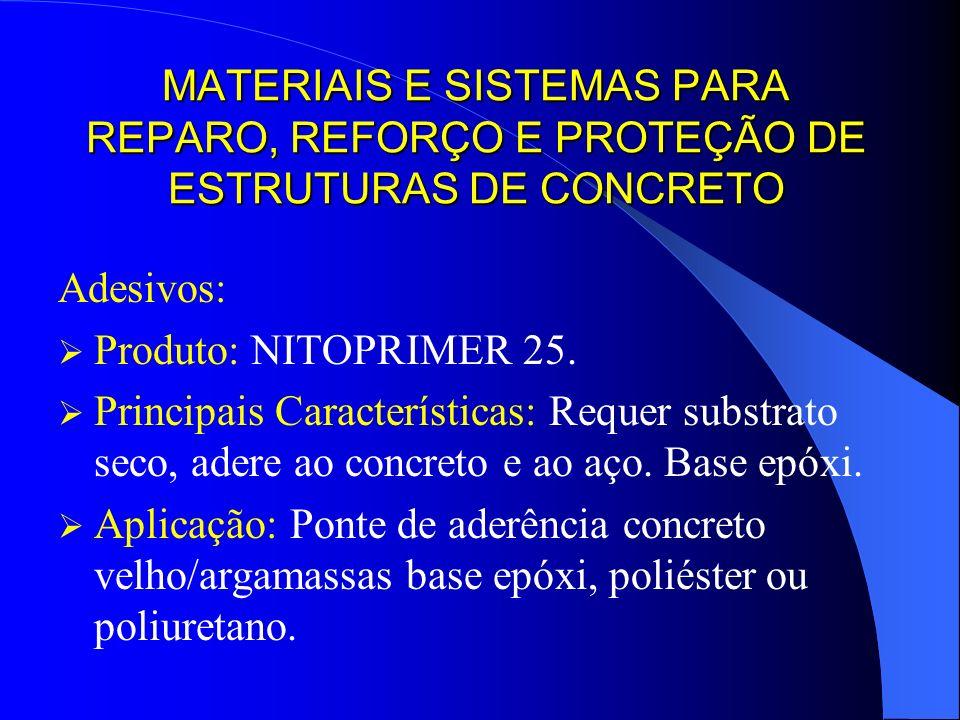MATERIAIS E SISTEMAS PARA REPARO, REFORÇO E PROTEÇÃO DE ESTRUTURAS DE CONCRETO Adesivos: Produto: NITOPRIMER 25. Principais Características: Requer su