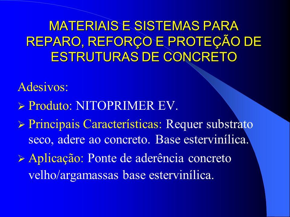MATERIAIS E SISTEMAS PARA REPARO, REFORÇO E PROTEÇÃO DE ESTRUTURAS DE CONCRETO Adesivos: Produto: NITOPRIMER EV. Principais Características: Requer su