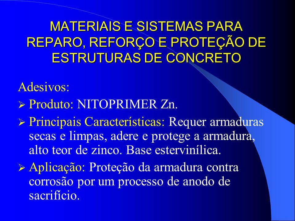 MATERIAIS E SISTEMAS PARA REPARO, REFORÇO E PROTEÇÃO DE ESTRUTURAS DE CONCRETO Adesivos: Produto: NITOPRIMER Zn. Principais Características: Requer ar