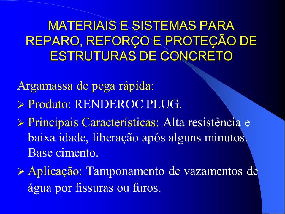 MATERIAIS E SISTEMAS PARA REPARO, REFORÇO E PROTEÇÃO DE ESTRUTURAS DE CONCRETO Argamassa de pega rápida: Produto: RENDEROC PLUG. Principais Caracterís