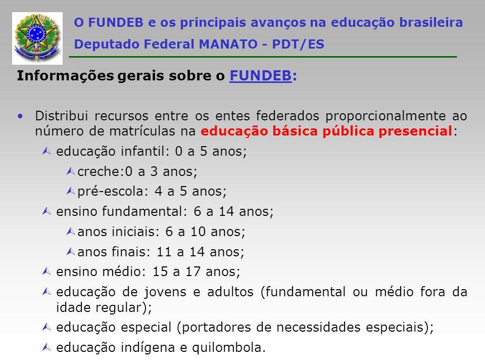 O FUNDEB e os principais avanços na educação brasileira Deputado Federal MANATO - PDT/ES Informações gerais sobre o FUNDEB: Distribui recursos entre o