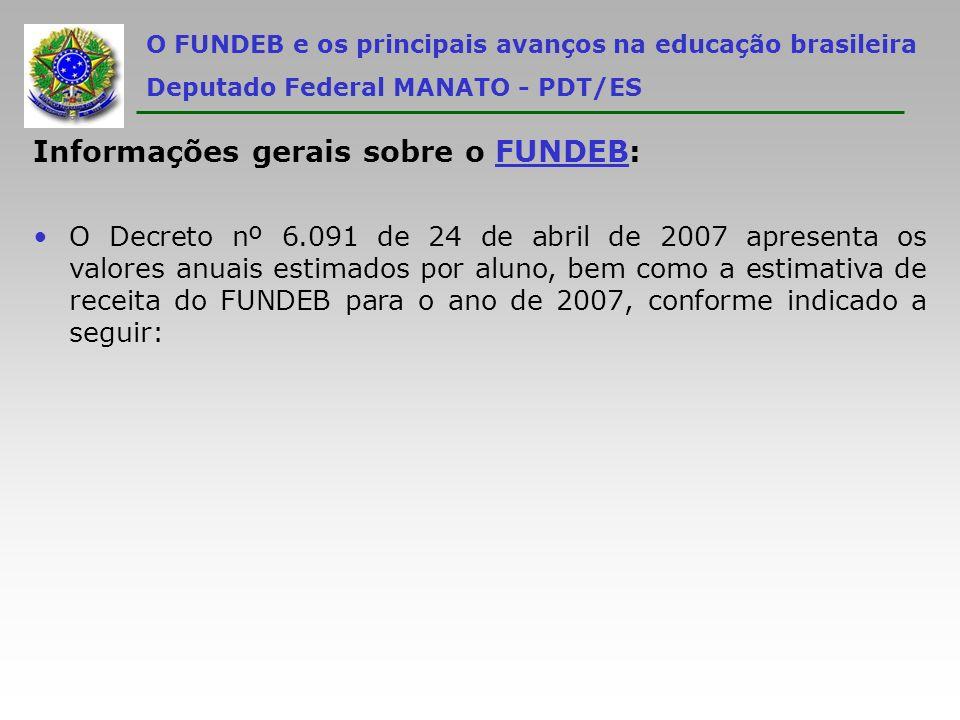 Informações gerais sobre o FUNDEB: O Decreto nº 6.091 de 24 de abril de 2007 apresenta os valores anuais estimados por aluno, bem como a estimativa de