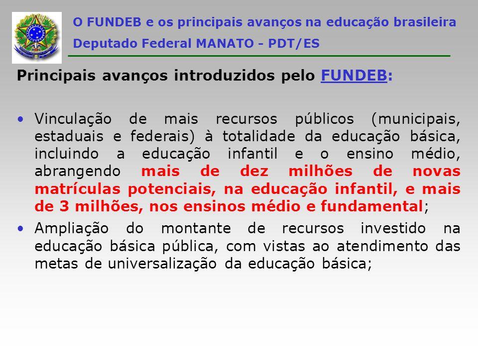 O FUNDEB e os principais avanços na educação brasileira Deputado Federal MANATO - PDT/ES Principais avanços introduzidos pelo FUNDEB: Vinculação de ma