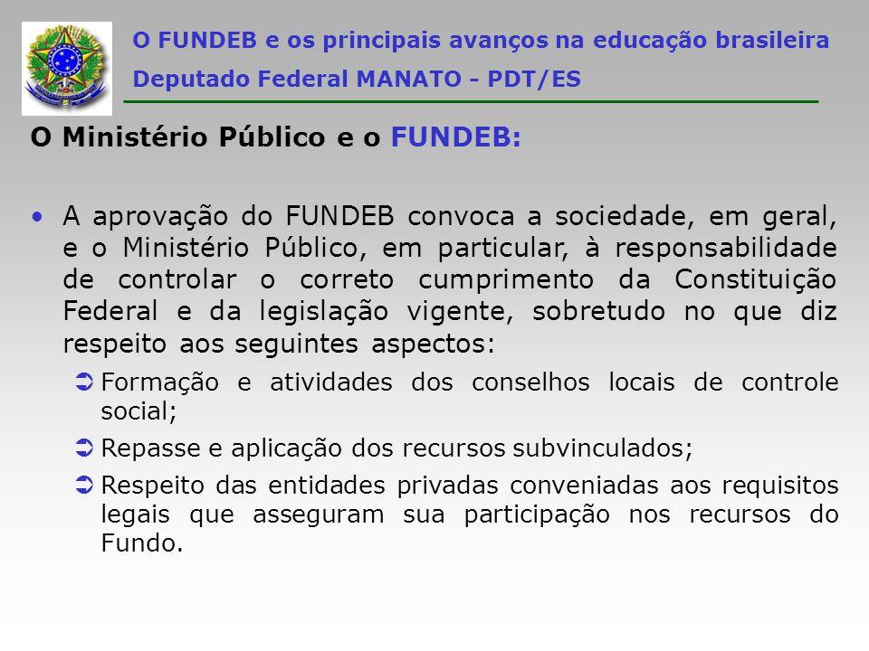 O FUNDEB e os principais avanços na educação brasileira Deputado Federal MANATO - PDT/ES O Ministério Público e o FUNDEB: A aprovação do FUNDEB convoc
