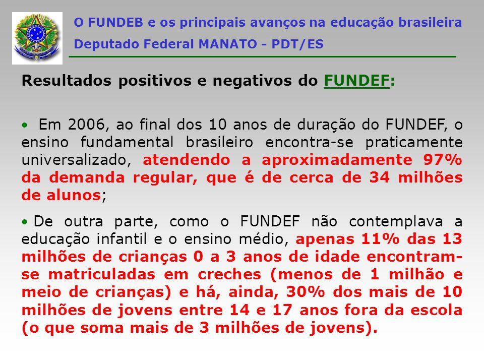 Resultados positivos e negativos do FUNDEF: Em 2006, ao final dos 10 anos de duração do FUNDEF, o ensino fundamental brasileiro encontra-se praticamen