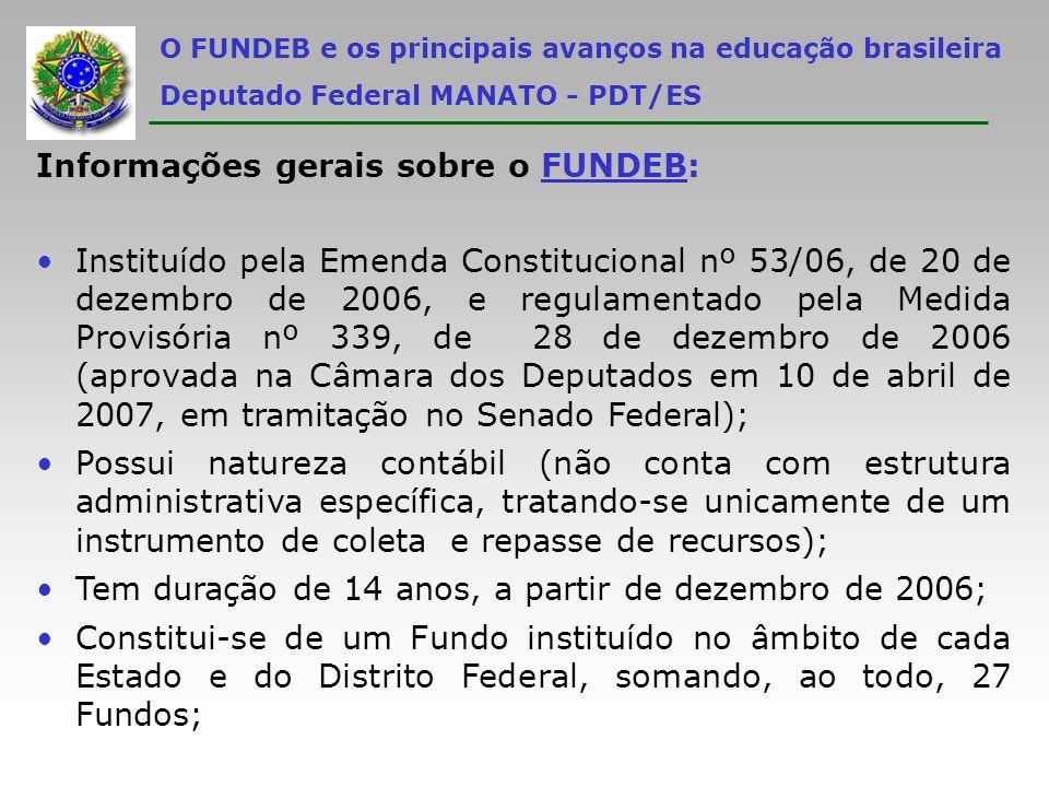 O FUNDEB e os principais avanços na educação brasileira Deputado Federal MANATO - PDT/ES Informações gerais sobre o FUNDEB: Destina-se à manutenção e ao desenvolvimento da educação básica, e à remuneração condigna dos trabalhadores da educação; Reserva um mínimo de 60% dos recursos totais para pagamento da remuneração dos profissionais do magistério da educação básica em efetivo exercício na rede pública (não contempla inativos, mas contempla os profissionais do magistério da rede pública cedidos para as instituições privadas sem fins lucrativos contempladas pelo FUNDO);