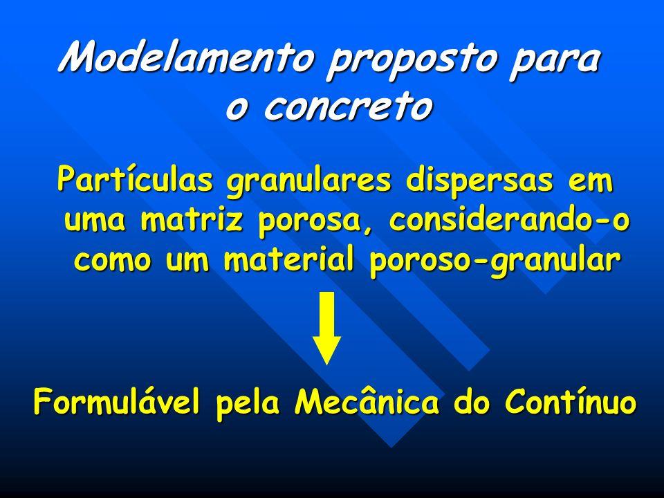 Modelamento como Matriz Porosa Permite modelar algumas características importantes evolução das propriedades x tempo; evolução das propriedades x tempo; Interface matriz x agregado; Interface matriz x agregado; A propagação de fissuras; A propagação de fissuras; Desenvolvimento de equações constituitivas Desenvolvimento de equações constituitivas Formulação de uma Mecânica da Fratura Formulação de uma Mecânica da Fratura