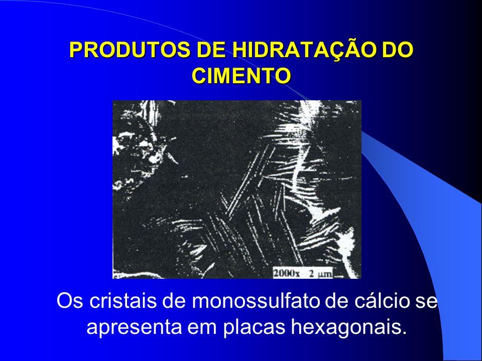 PRODUTOS DE HIDRATAÇÃO DO CIMENTO Os cristais de monossulfato de cálcio se apresenta em placas hexagonais.