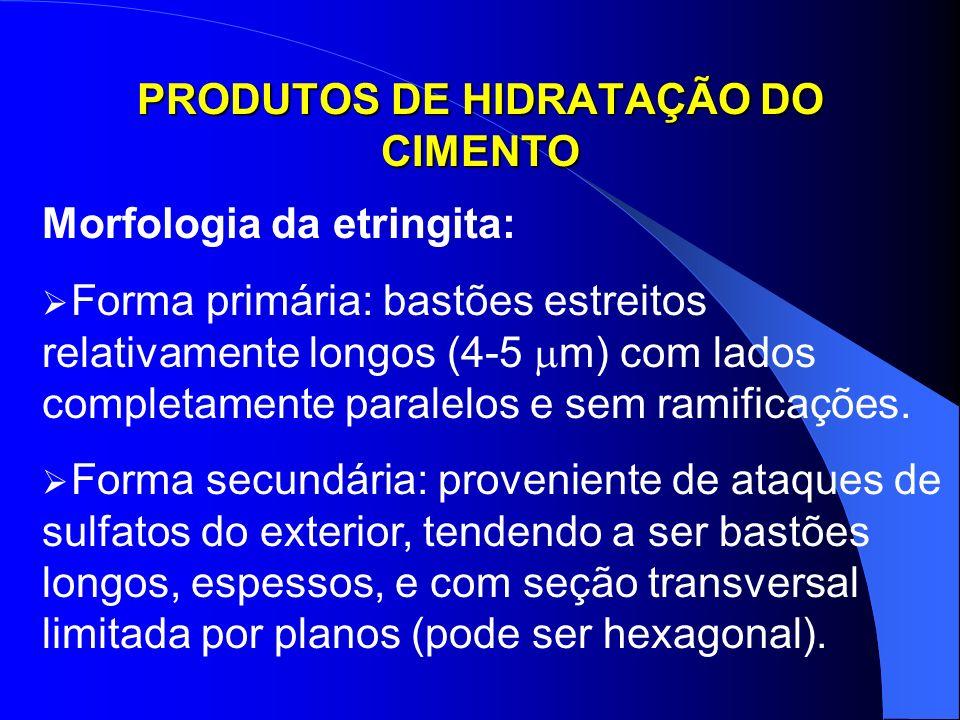 PRODUTOS DE HIDRATAÇÃO DO CIMENTO Morfologia da etringita: Forma primária: bastões estreitos relativamente longos (4-5 m) com lados completamente para