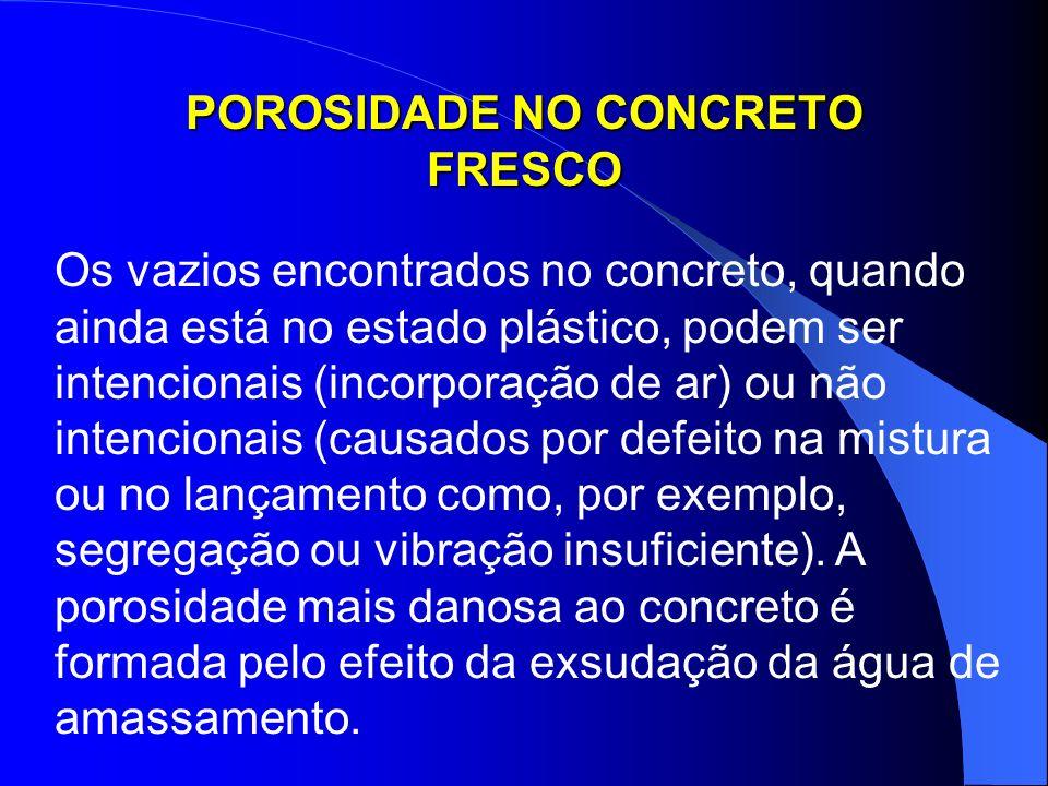 POROSIDADE NO CONCRETO FRESCO Os vazios encontrados no concreto, quando ainda está no estado plástico, podem ser intencionais (incorporação de ar) ou