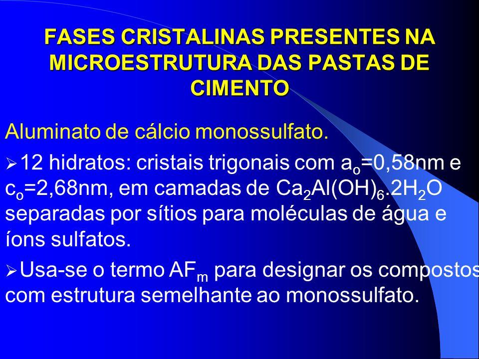 FASES CRISTALINAS PRESENTES NA MICROESTRUTURA DAS PASTAS DE CIMENTO Aluminato de cálcio monossulfato. 12 hidratos: cristais trigonais com a o =0,58nm
