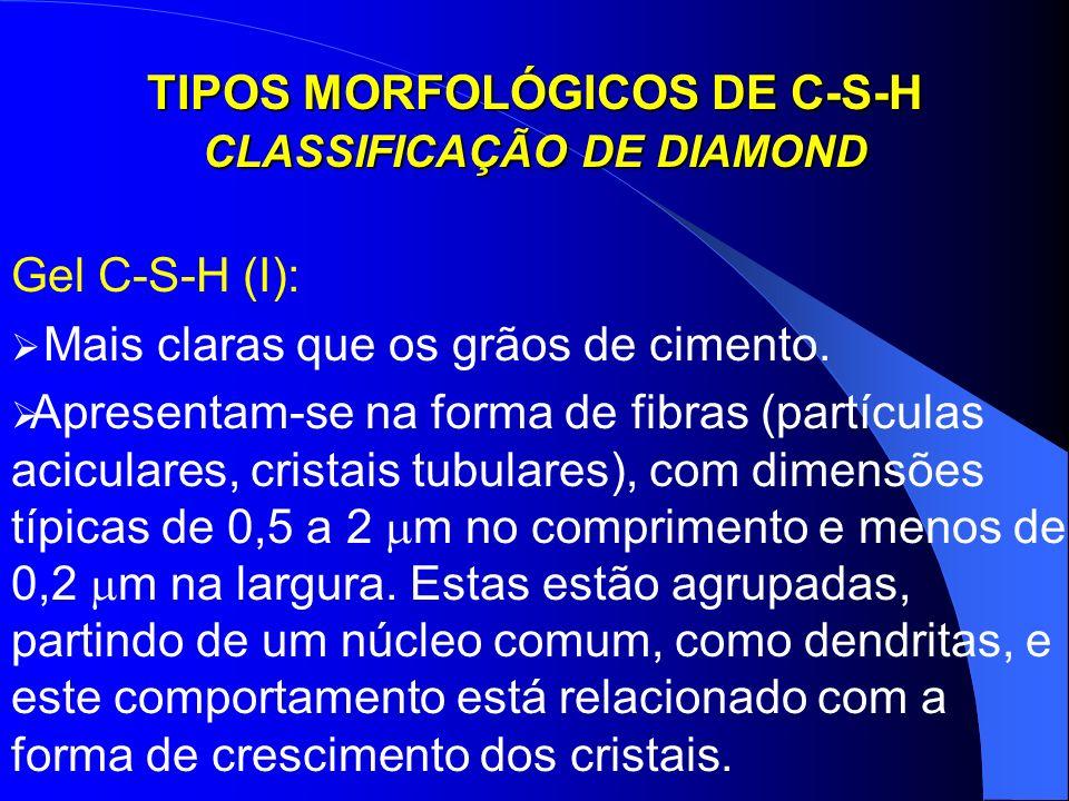 TIPOS MORFOLÓGICOS DE C-S-H CLASSIFICAÇÃO DE DIAMOND Gel C-S-H (I): Mais claras que os grãos de cimento. Apresentam-se na forma de fibras (partículas