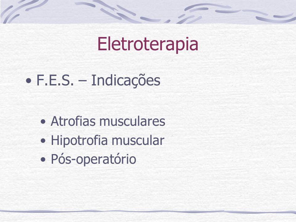 Eletroterapia F.E.S. – Indicações Atrofias musculares Hipotrofia muscular Pós-operatório