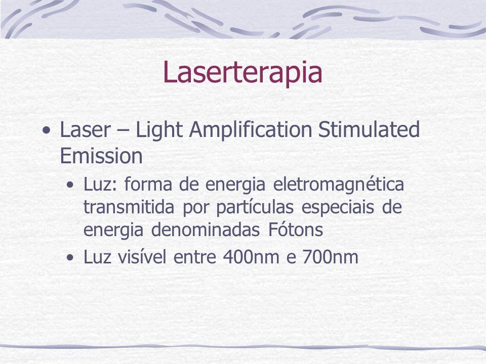 Laserterapia Laser – Light Amplification Stimulated Emission Luz: forma de energia eletromagnética transmitida por partículas especiais de energia denominadas Fótons Luz visível entre 400nm e 700nm