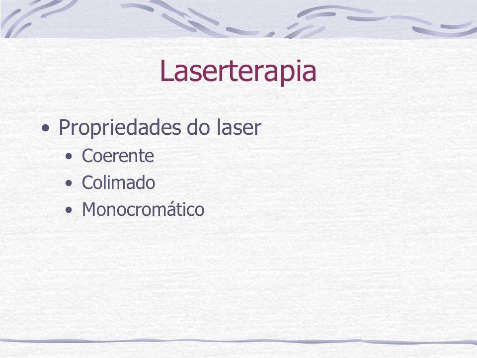 Laserterapia Propriedades do laser Coerente Colimado Monocromático