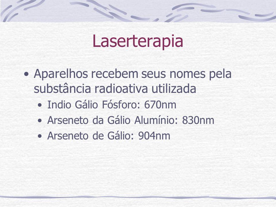 Laserterapia Aparelhos recebem seus nomes pela substância radioativa utilizada Indio Gálio Fósforo: 670nm Arseneto da Gálio Alumínio: 830nm Arseneto de Gálio: 904nm