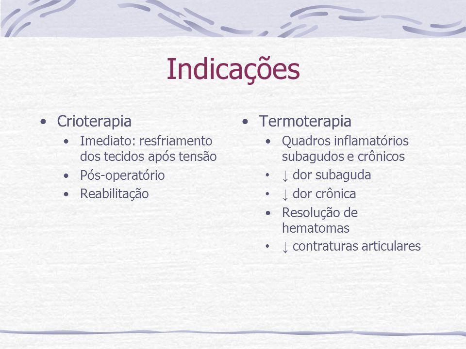 Indicações Crioterapia Imediato: resfriamento dos tecidos após tensão Pós-operatório Reabilitação Termoterapia Quadros inflamatórios subagudos e crônicos dor subaguda dor crônica Resolução de hematomas contraturas articulares