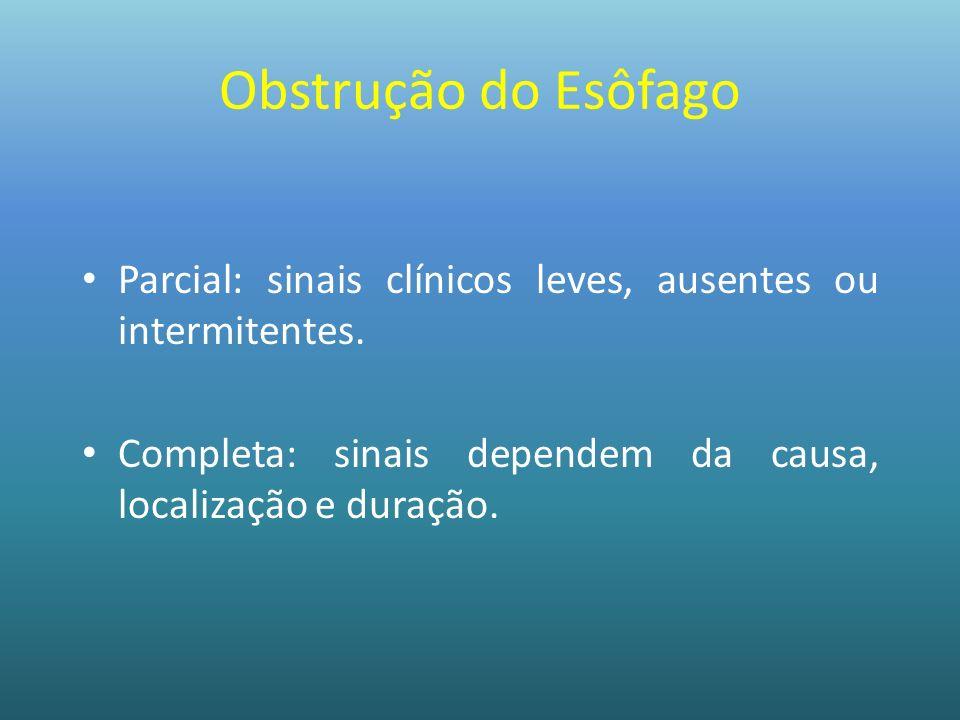 Obstrução do Esôfago Parcial: sinais clínicos leves, ausentes ou intermitentes. Completa: sinais dependem da causa, localização e duração.