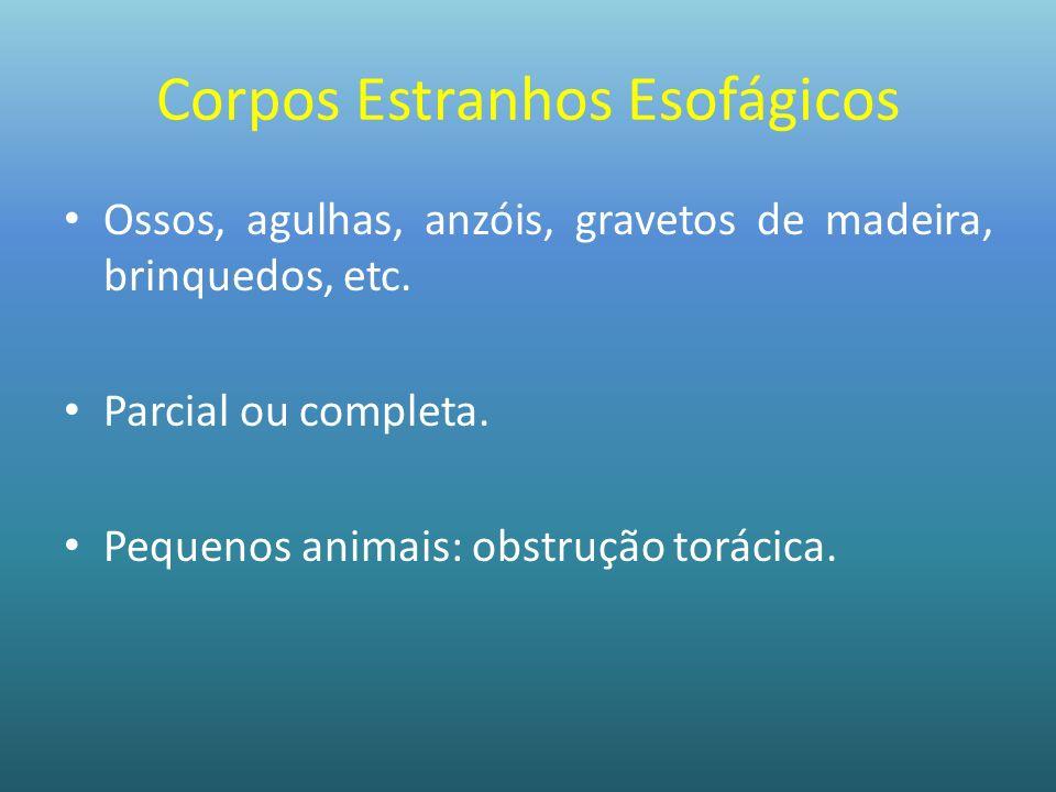 Corpos Estranhos Esofágicos Ossos, agulhas, anzóis, gravetos de madeira, brinquedos, etc. Parcial ou completa. Pequenos animais: obstrução torácica.